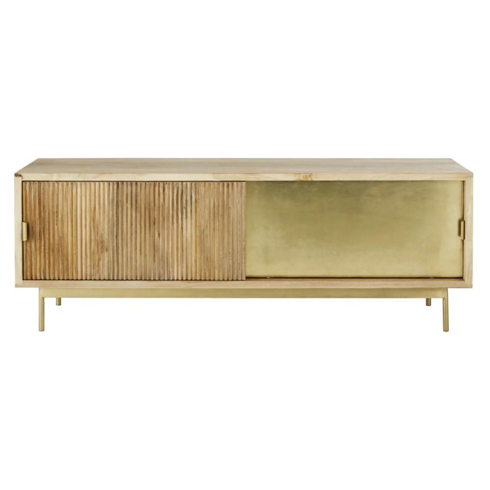 Mueble de TV  Louxor natural y dorado